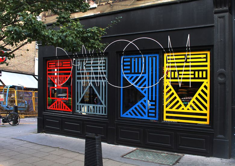 Our collaborative project with Camille Walala — T-R-I-B-A-L-A-L-A launches with an eye-popping window installation… | Darkroom