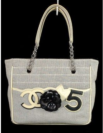 8a3487e50349dd Chanel very good (VG Gray Fabric Iconic CC Camellia No.5 Shopping Tote Bag  on shopstyle.com