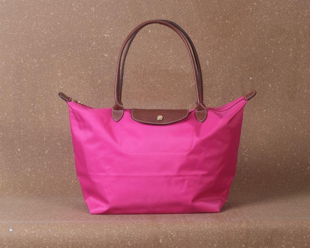 Longchamp New Le Pliage Nylon Tote Handbag Pink Large Authentic France