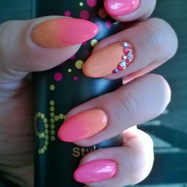 #ghd #ombrenails #swarowski #pink #orange