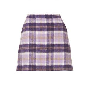 TOPSHOP Lilac Check A Line Short Skirt