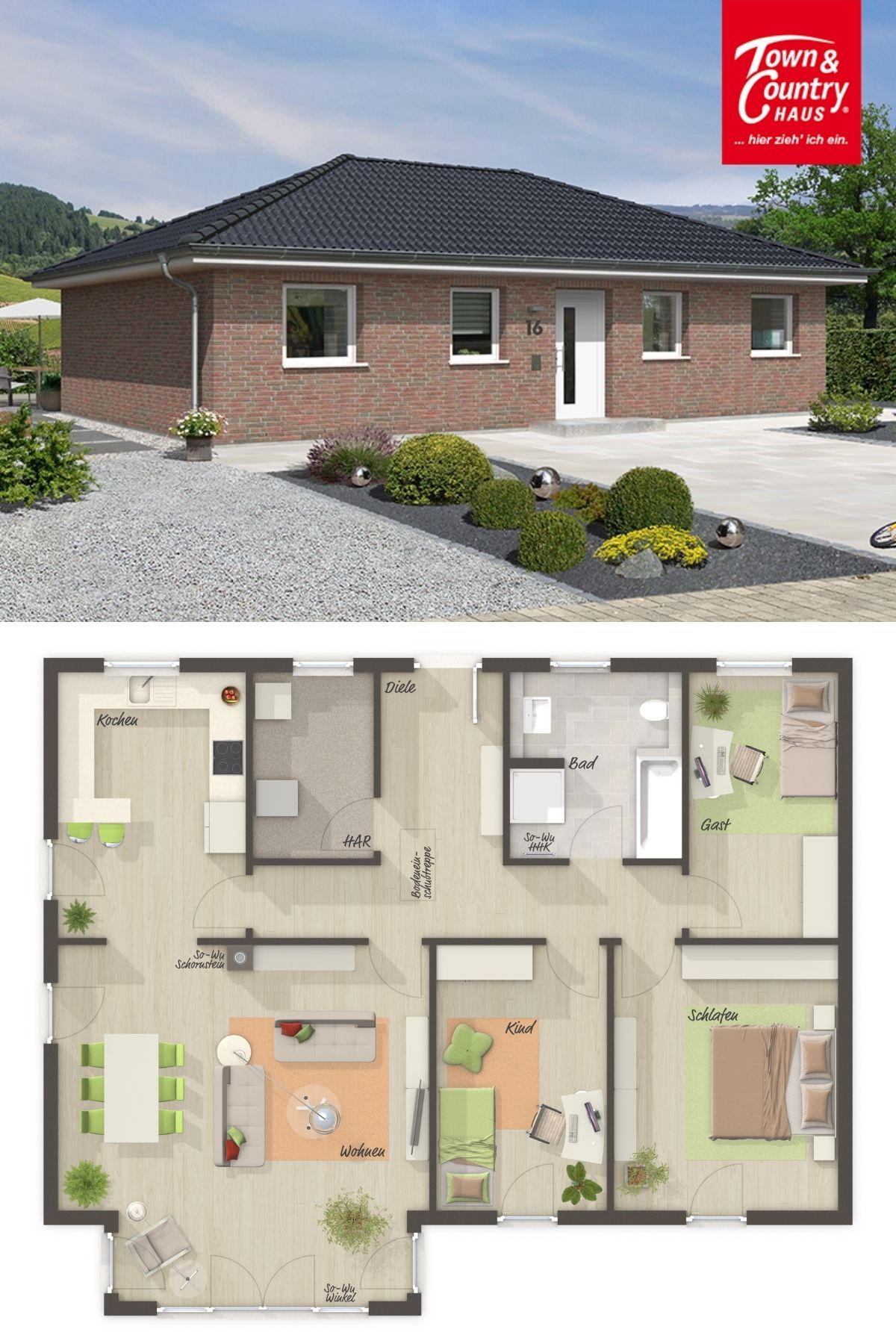 Moderner Bungalow Grundriss Mit Walmdach Architektur U0026 Klinker Fassade   Haus  Bauen Ideen Massivhaus BUNGALOW 110