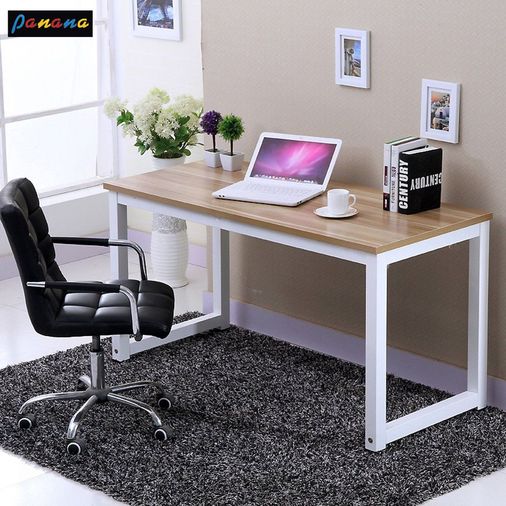 Computer Desk Pc Laptop Wood Table Home Office Study: Modern Walnut Wooden & Metal Computer PC Home Office Desk