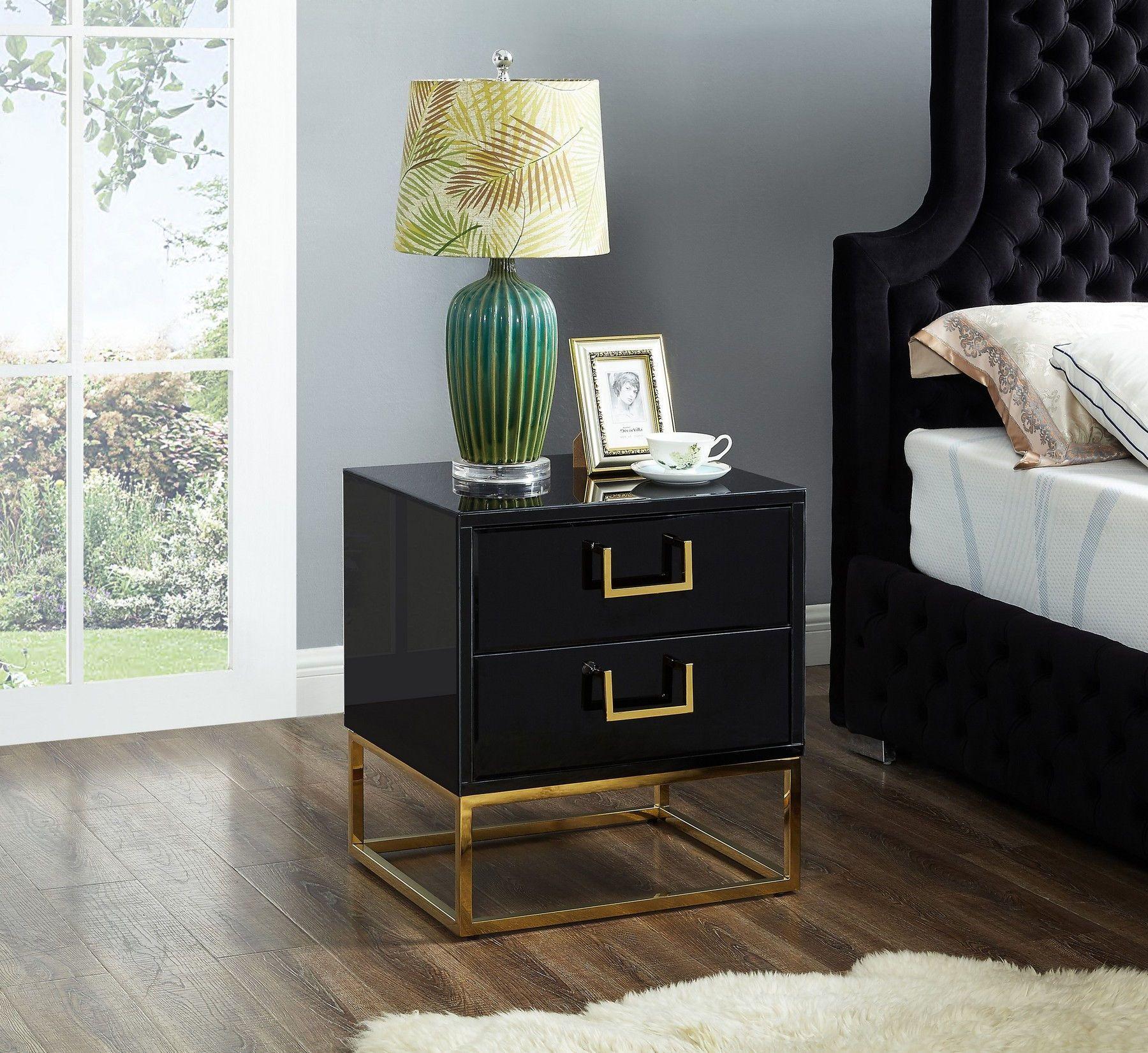 Nova Gold Black Night Stand 815 Meridian Furniture Night Stands In 2020 Black Room Decor Black Side Table Gold Bedroom Decor