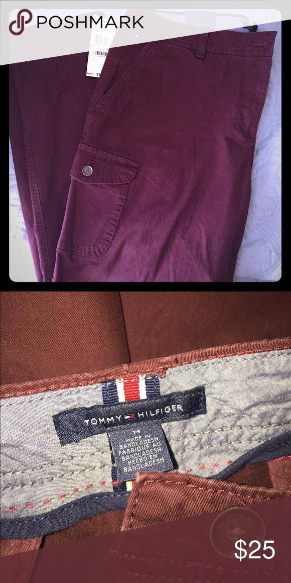 NWT: Tommy Hilfiger pants NWT: Tommy Hilfiger pants never worn, color is deep burgundy Tommy Hilfiger Pants Straight Leg