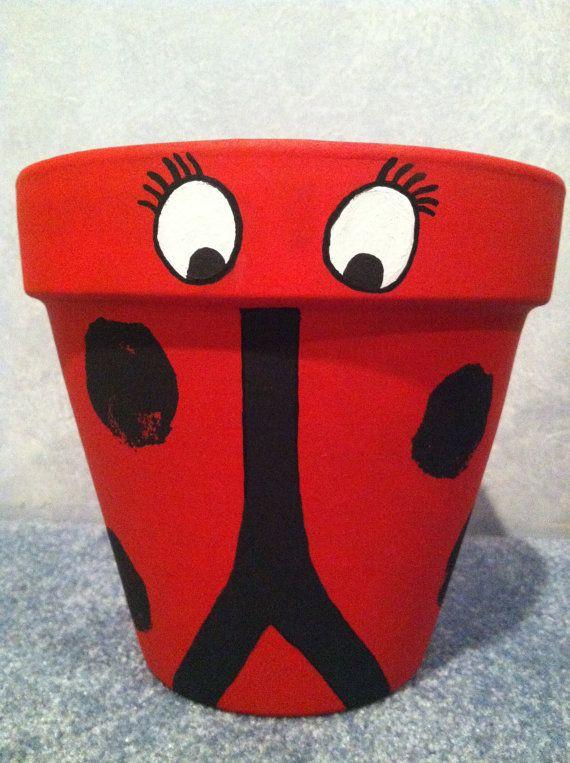 https://www.etsy.com/treasury/MTY0MjQ0MTJ8MjcyNDk5NjcwMg/open-no-minimum-team-aha-bns-round Hand Painted Pot Flower Pot Clay Pot Ladybug by LiveLaughLooloo, $22.00