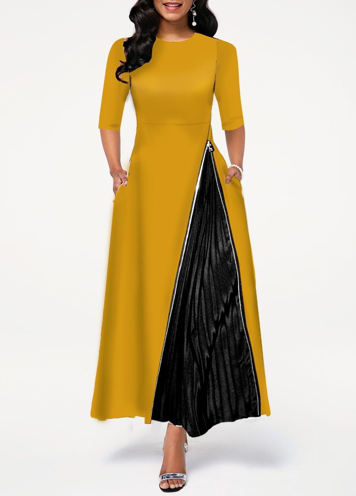 round neck zipper detail high waist dress in 2020
