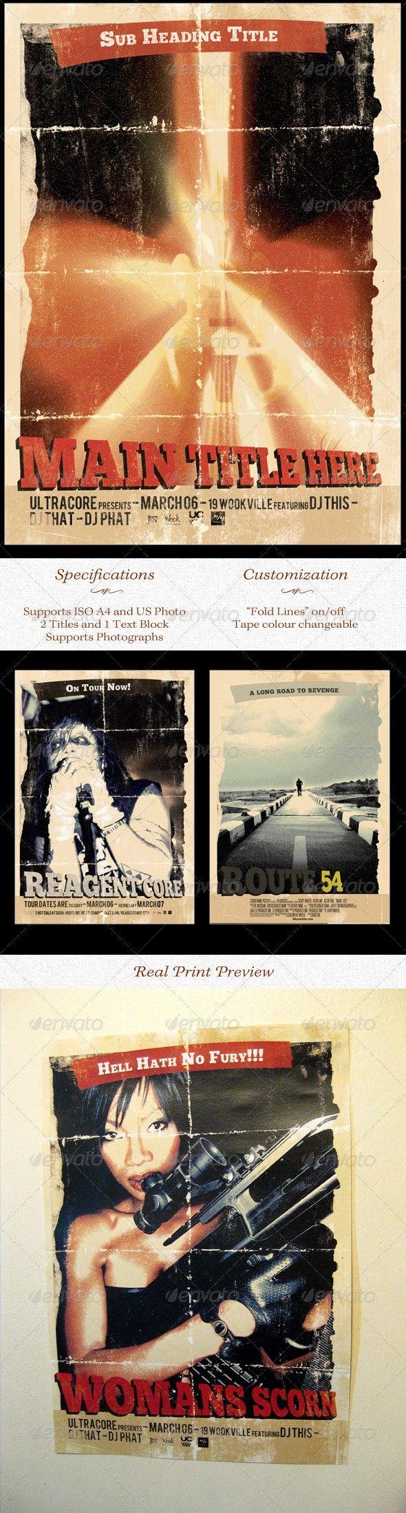 grindhouse theatre poster template flyer design pinterest