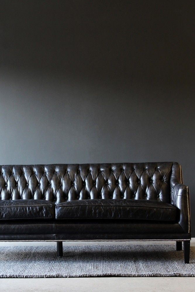 Merveilleux Black Leather Chesterfield Sofa From Rockett St George