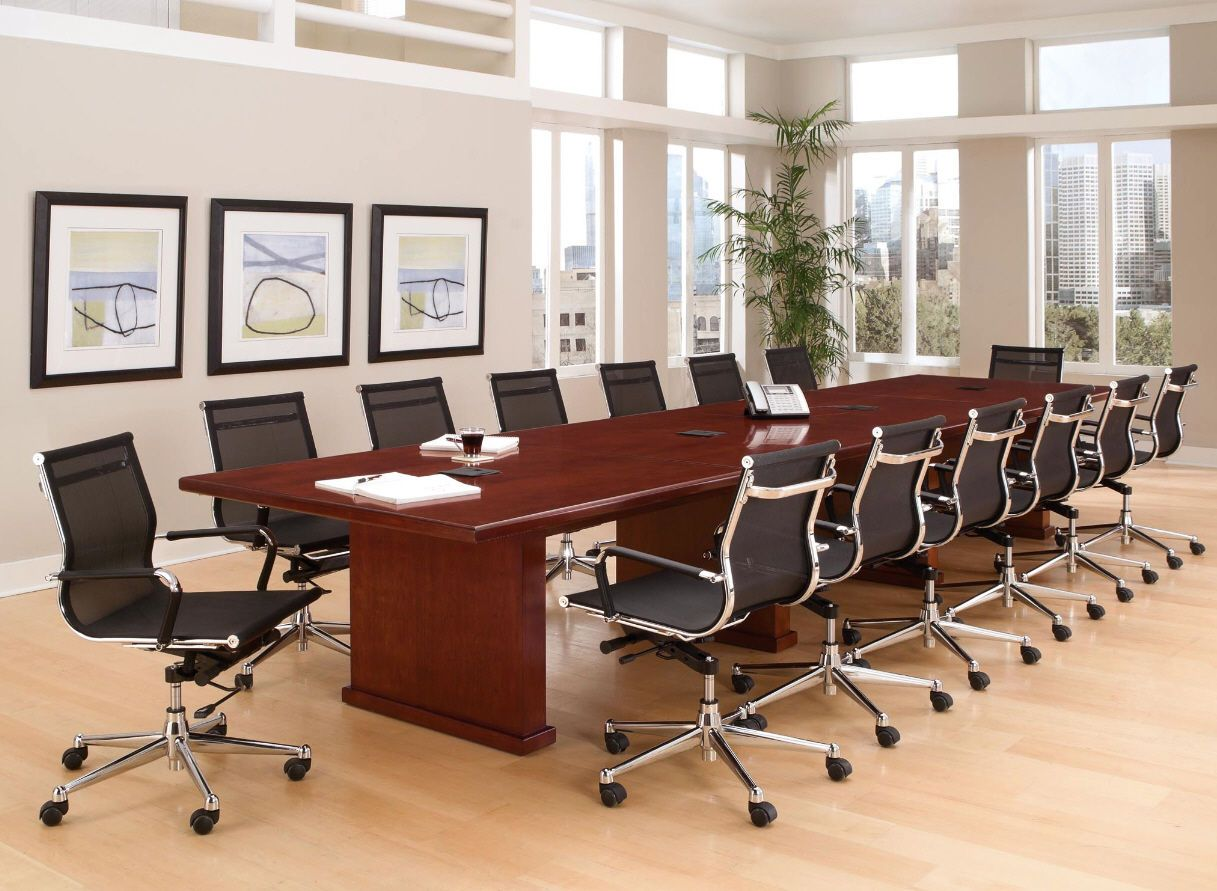 Modern Foot White Conference Table And Chairs Set WHITE BLACK - Conference table with data ports and power
