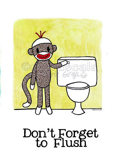 Sock Monkey Bathroom Reminder Flush Monkey Bathroom Sock Monkey Kids Toilet