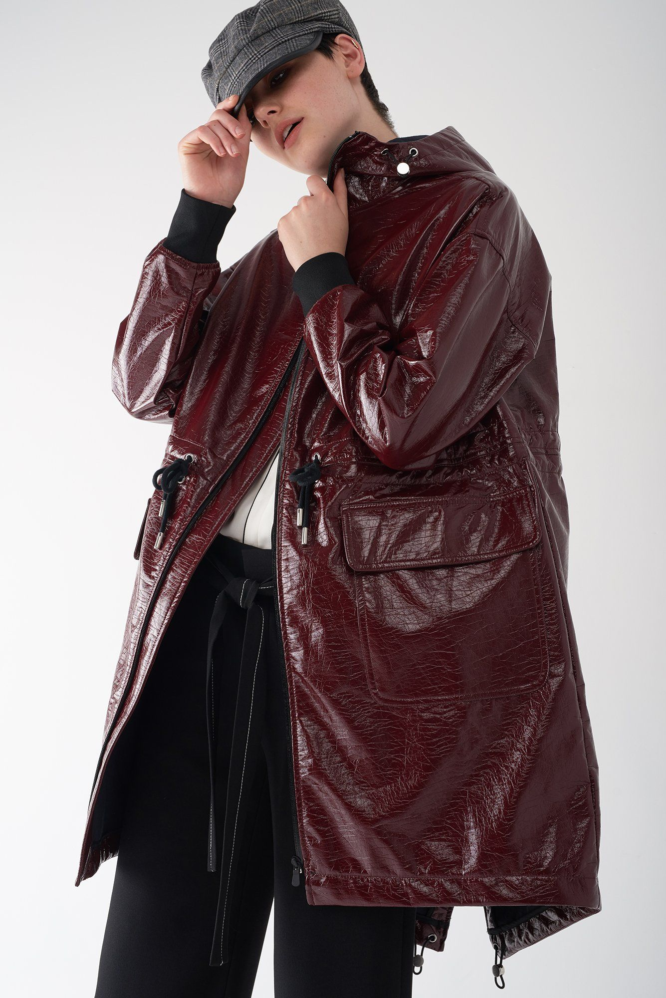 GRETA OXBLOOD Patent Leather Raincoat Raincoat