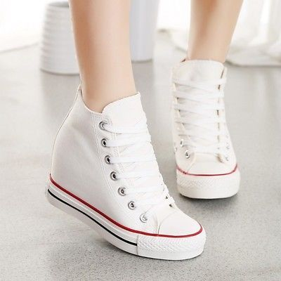 Womens Platform hidden wedge heel Canvas High top Sneakers Lace up Casual Shoes