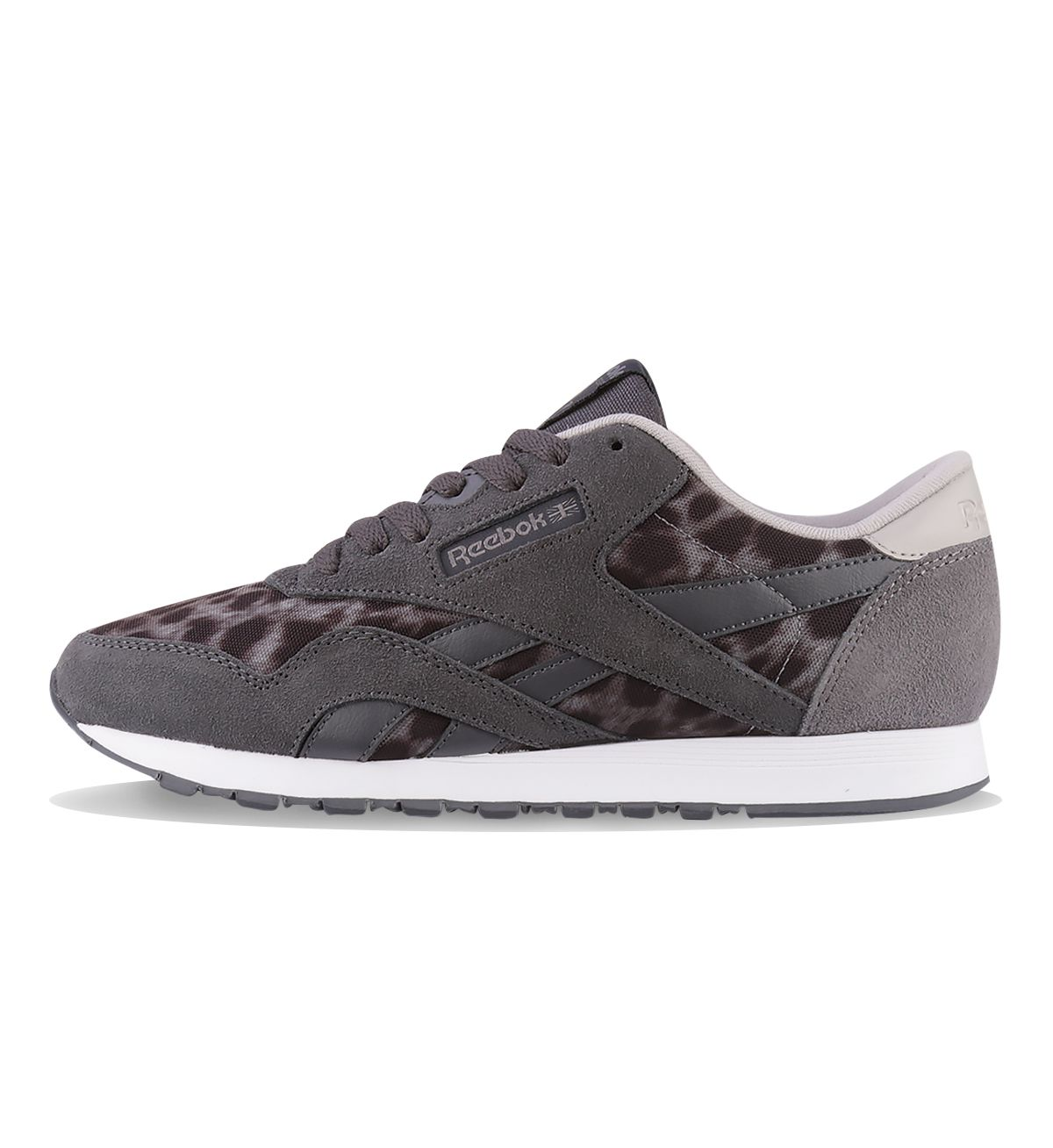 dfe0517d45cb Reebok WMNS CL Nylon Wild Shark   Black   Steel   White - Reebok Womens The  Women s Reebok Classic Nylon Wild in grey has nylon and suede uppers with  an ...