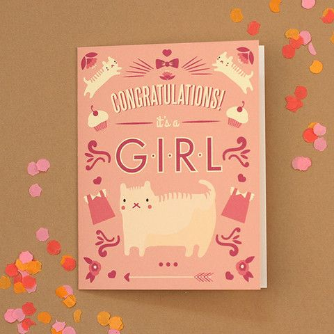 Congratulations Girl Baby Card Art Licensing Stationery