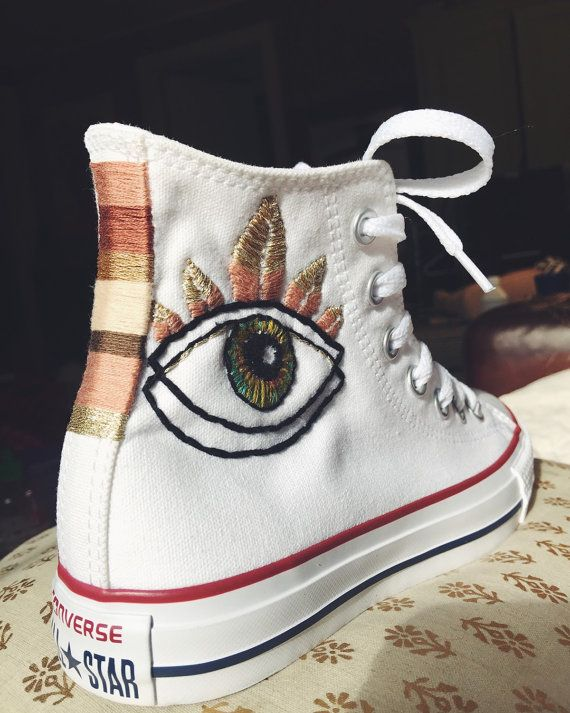 1eba12c0ac90 Evil Eye Embroidered Converse Sneakers