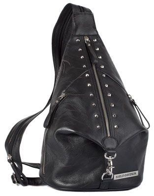 35965461c2 PK9536L-BK - Harley-Davidson® Womens Punk Sling Backpack Purse Black  Leather -