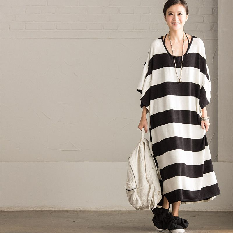 Korean Style Loose Knitting Stripe Bat Sleeve Casual Women Clothes Q8809A