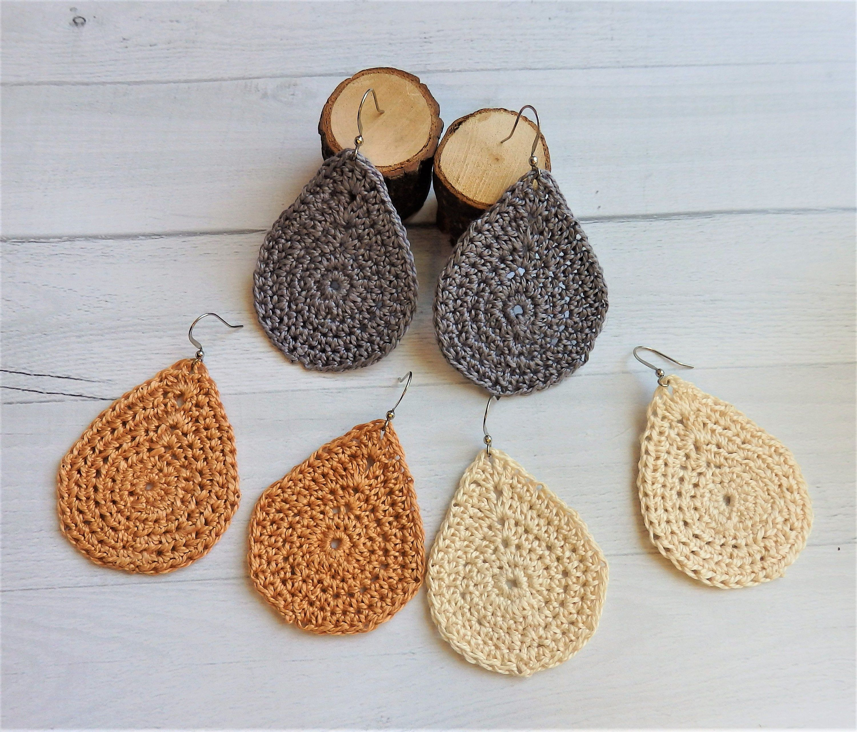 Handmade 2.5 Teardrop Crochet Earrings
