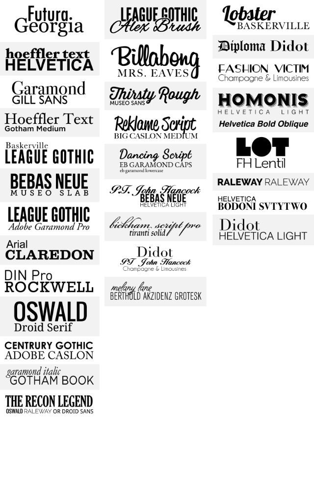 Working on a font pairing cheat sheet, any suggestions? | º