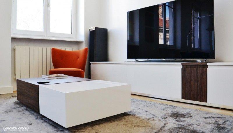 Rénovation appartement contemporain Lyon. Création meuble TV & table ...