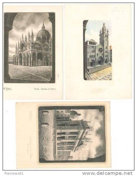 B693 ILLUSTRATORI DANDOLO BELLINI 12 CARDS VIAGGIATE 1950-1965