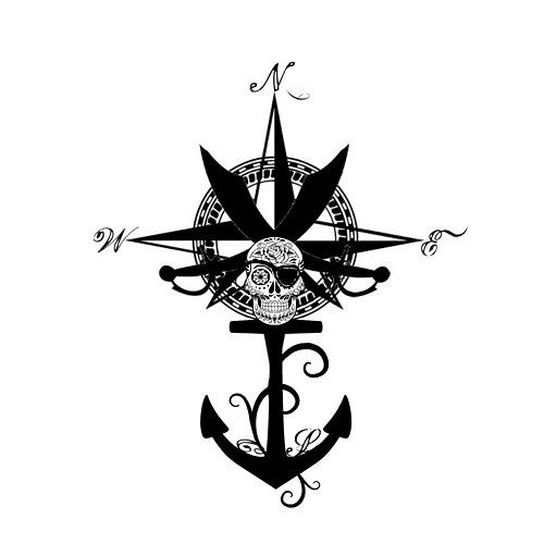 Compass Rose and Anchor Tattoo Design | Anchor tattoo ...
