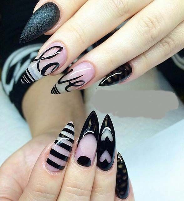 Black And Clear Stiletto Nails Stiletto Nails Designs Trendy Nails Nails