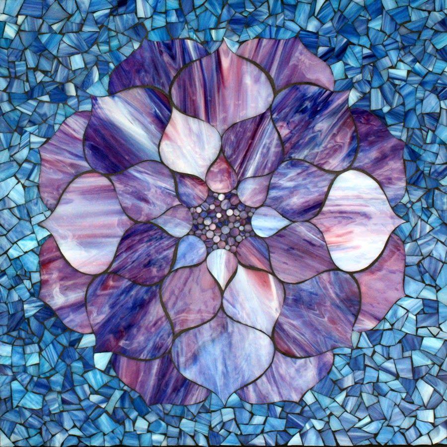 Kasia Mosaics Purple Lotus Flower On Blue Stained Glass Mosaic