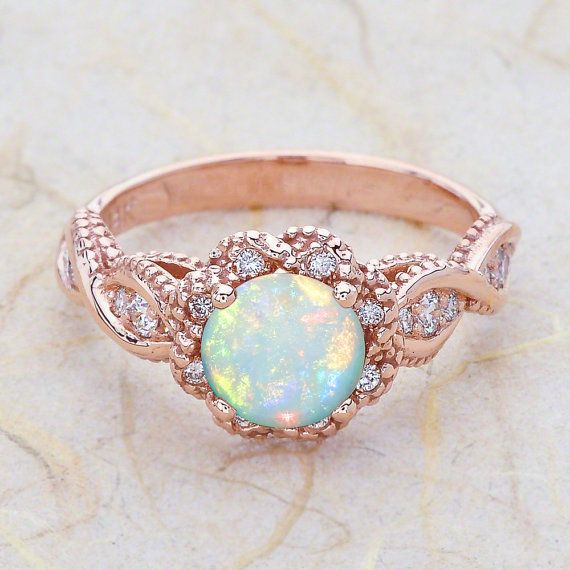 14k Vintage Rose Gold Opal Engagement Ring Engagement Rose Gold