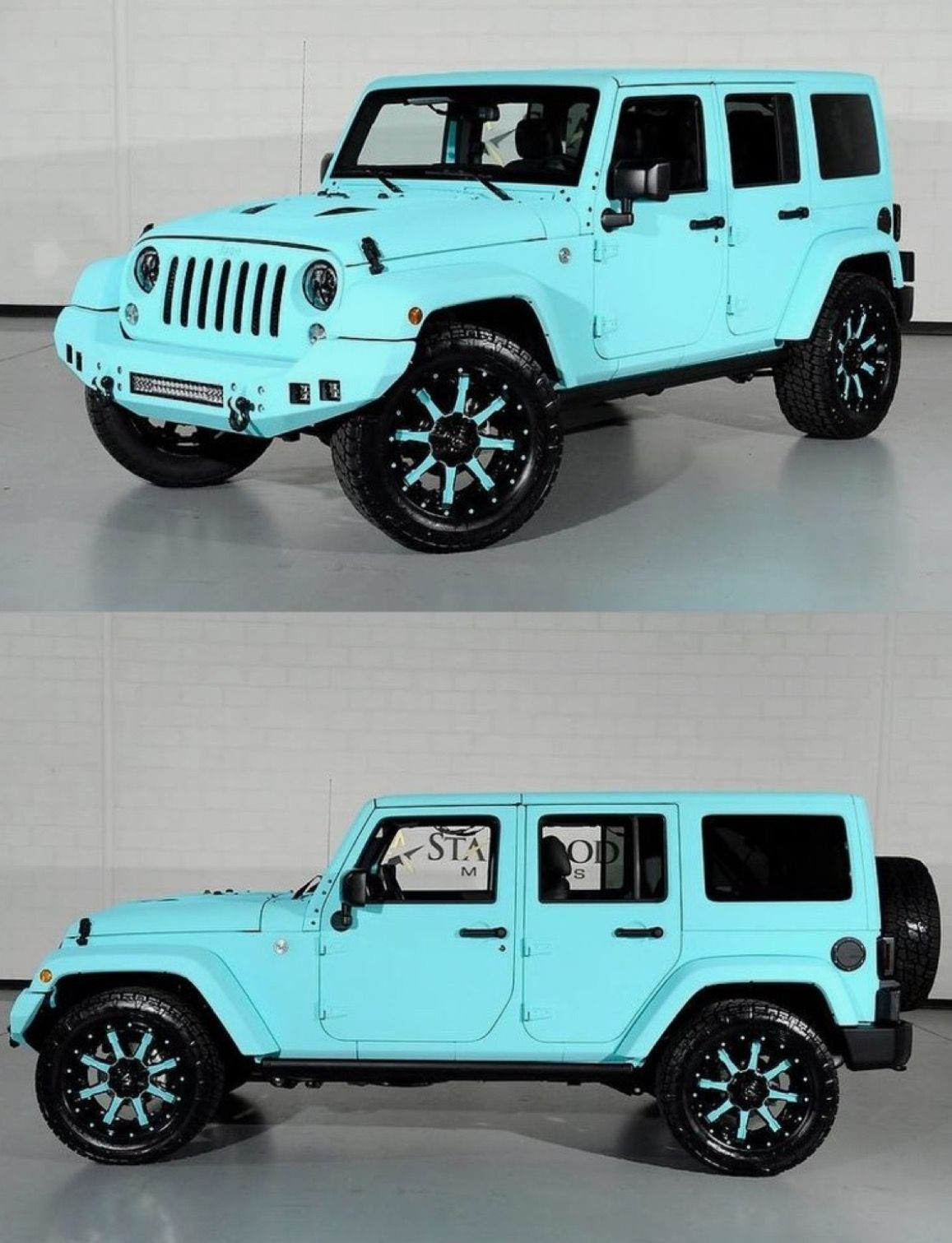 Custom Paint Job On A Four Door Hard Top Jeep Wrangler The Tiffany Blue Color Is Insane Custom Cars Paint Custom Jeep Wrangler Jeep Wrangler