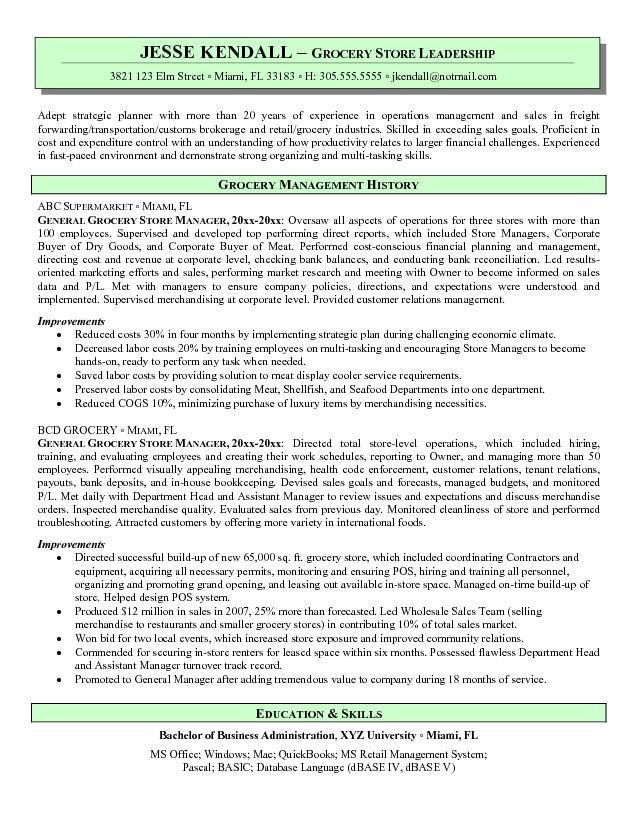 Grocery Store Resume Sample - Grocery Store Resume Sample will - store manager resume sample