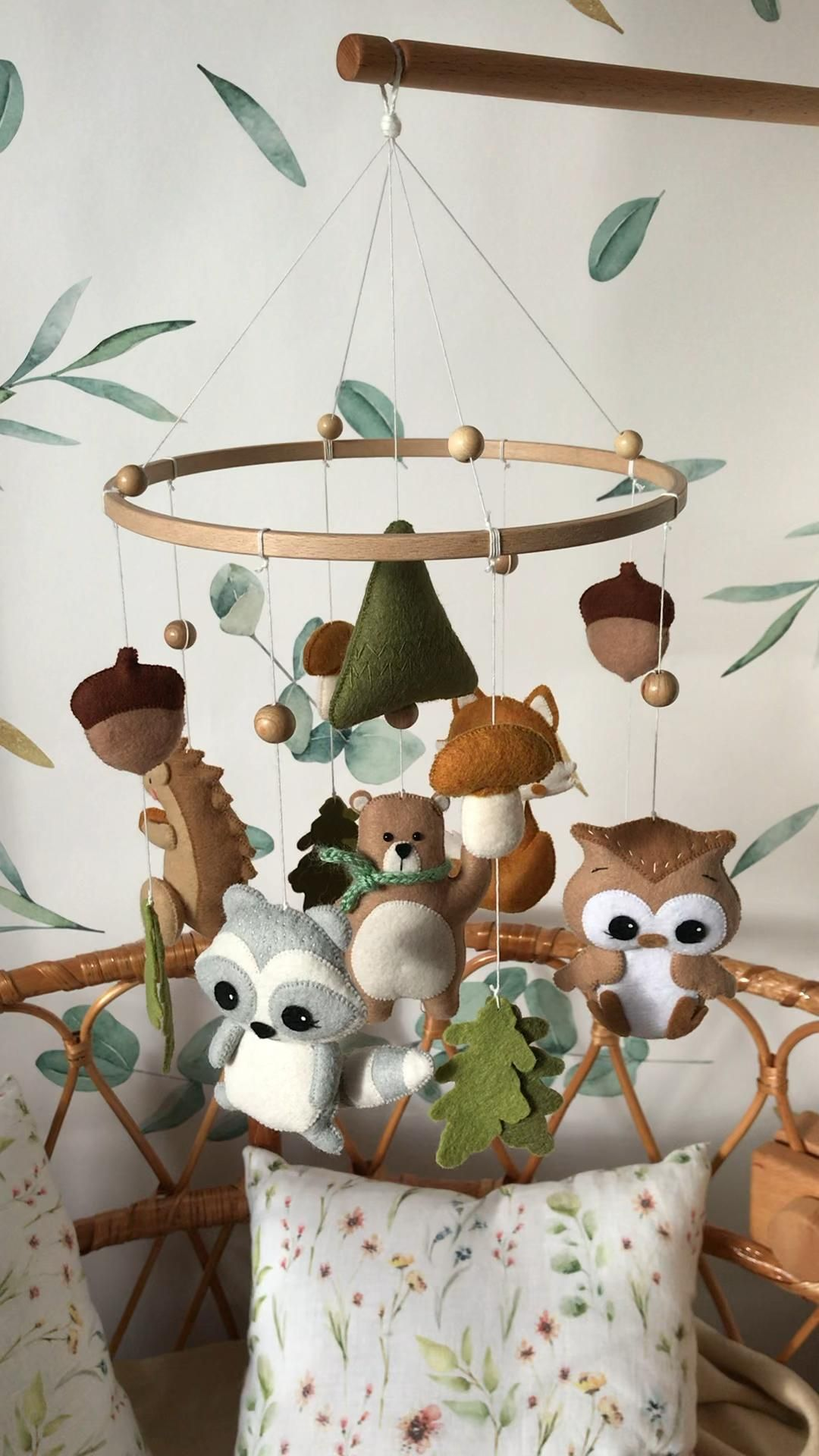 Photo of Woodland mobile,fox mobile,forest mobile,nursery mobile,felt mobile,baby mobile