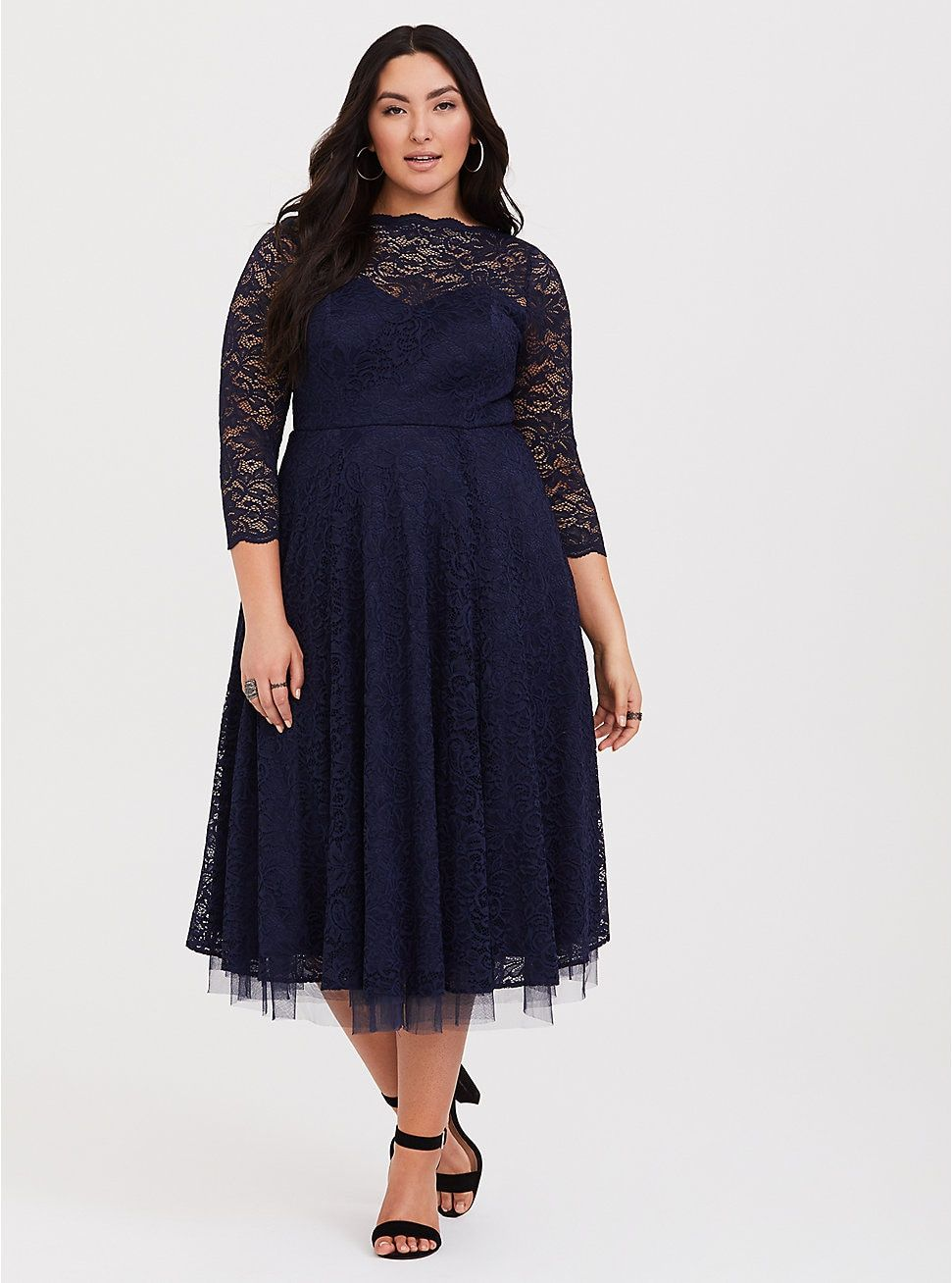278036dee9d Plus Size Special Occasion Navy Lace Midi Dress