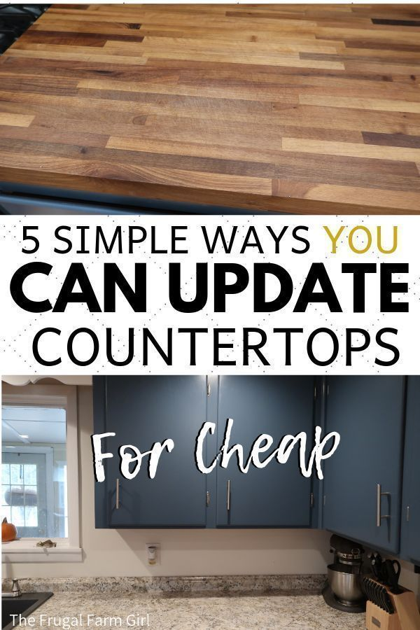 I was tired of our countertops which were painted at least five times. We updated our farmhouse kitchen for less and I'm in love with the look. See how you can update yours too.   #kitchen #remodel #DIY #tips #howto #countertops #Kitchenremodelingdiy