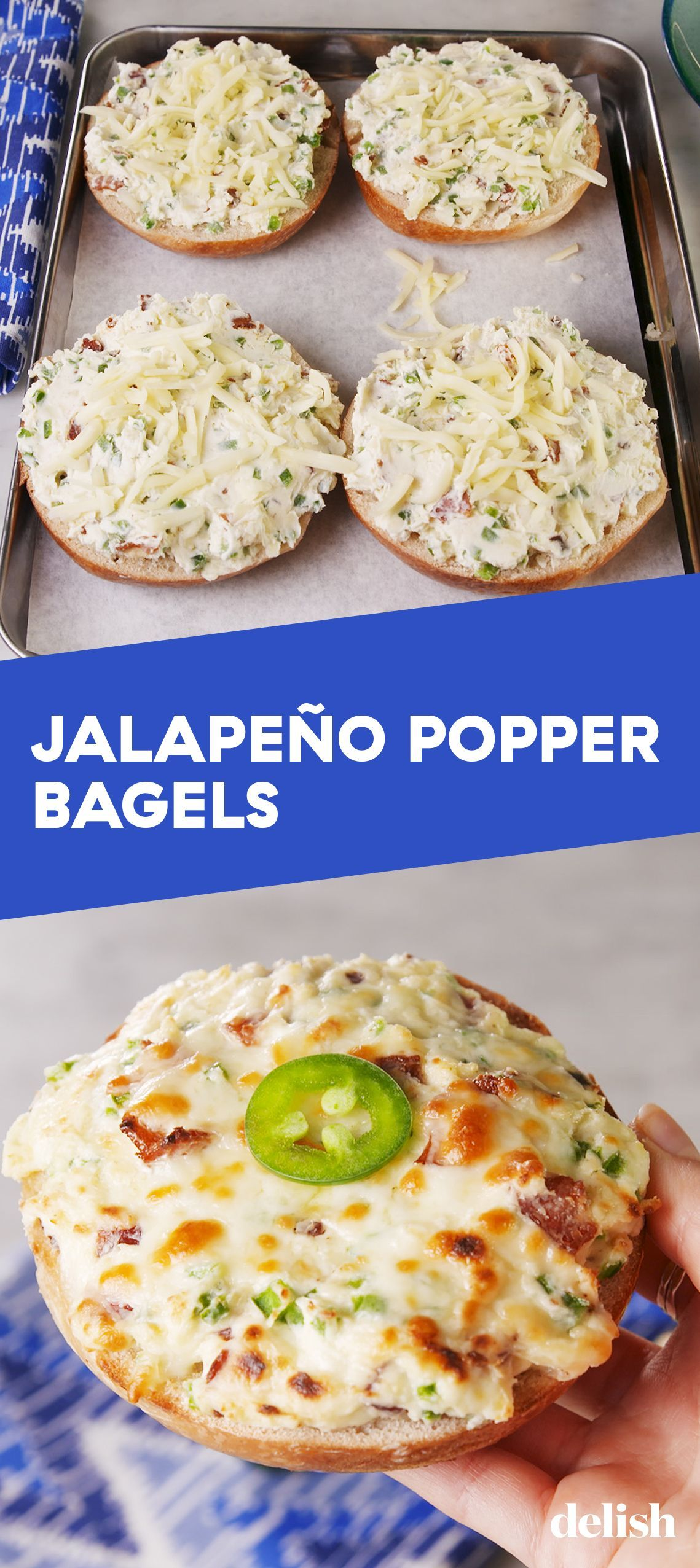 Jalapeño Popper Bagel are the grown-up version of pizza bagels. Get the recipe at . 26726055912434