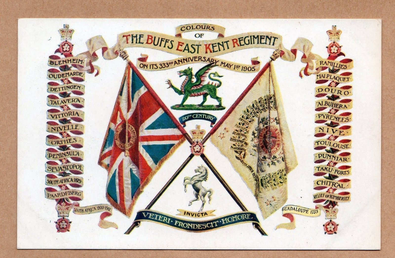 colours of the buffs east kent regiment flags and crest postcard