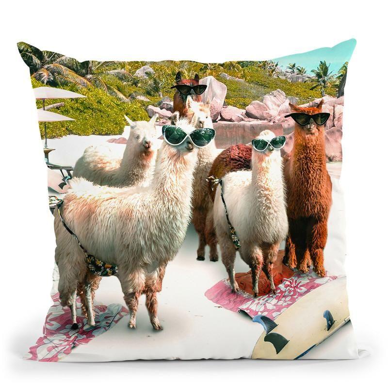 Funny Llama Beach Throw Pillow By Skyler Hill