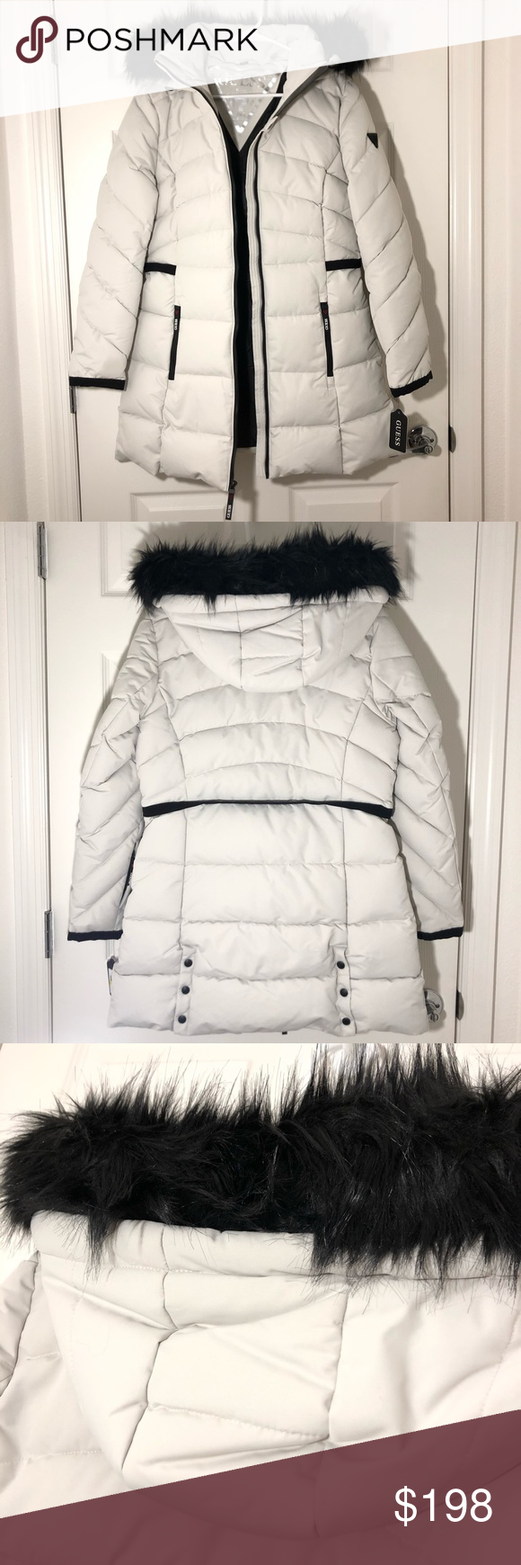Limited Edition Guess Long Puffer Coat Jacket Limited Edition White And Black Guess Long Puffer Jacket With Fa Clothes Design Long Puffer Jacket Fashion Design [ 1740 x 580 Pixel ]