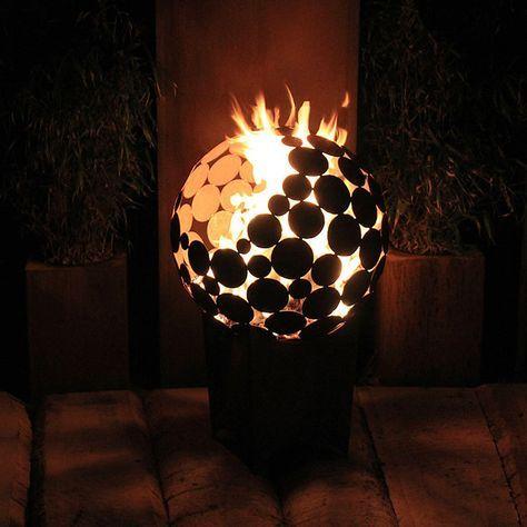 Feuerstelle Kugel d \u003d 65 cm mit tiefem Sockel - feuertonne selber machen