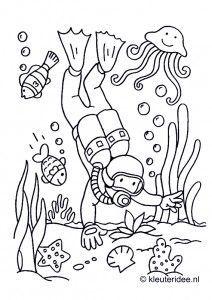 Kleurplaten Dieren Onder Water.Duiker Onder Water Kleurplaat Voor Kleuters Thema Zeeland