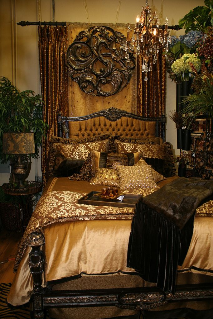 Gold and Bronze Queen Velvet Bedding Tuscan Style Decor