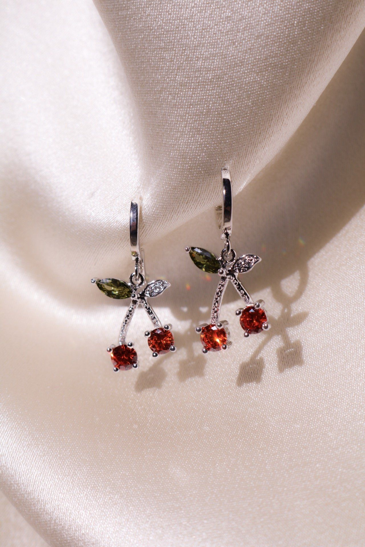 Silver Cherry Kiss Huggie Earrings