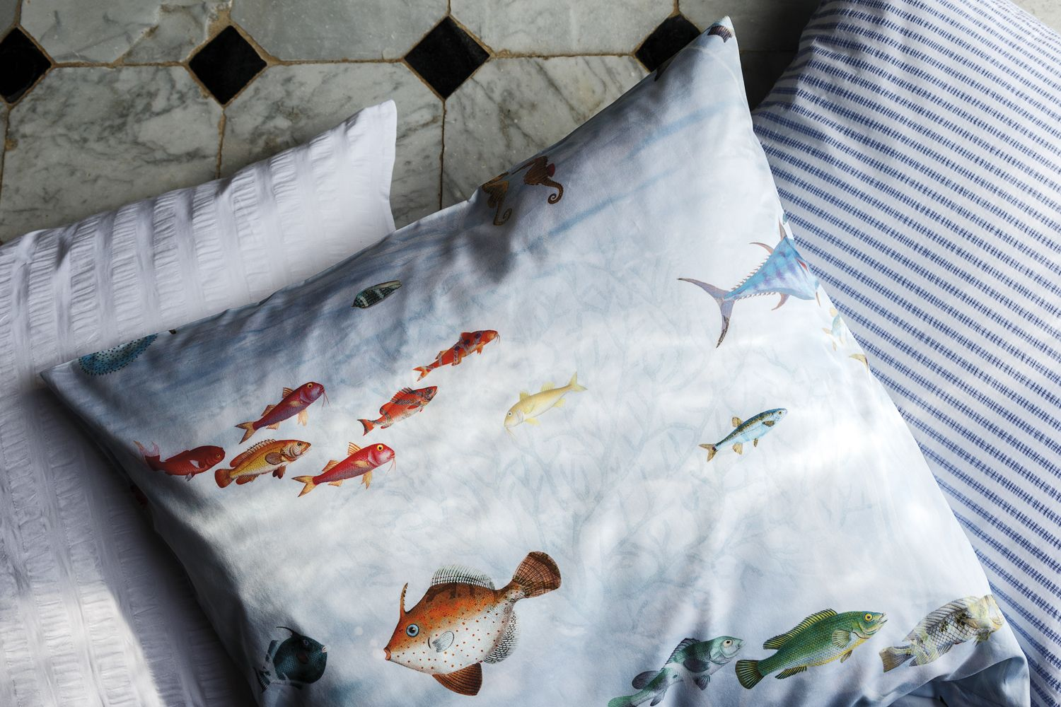 With the imaginative cotton satin SUBMARINE print, manufactured in ...