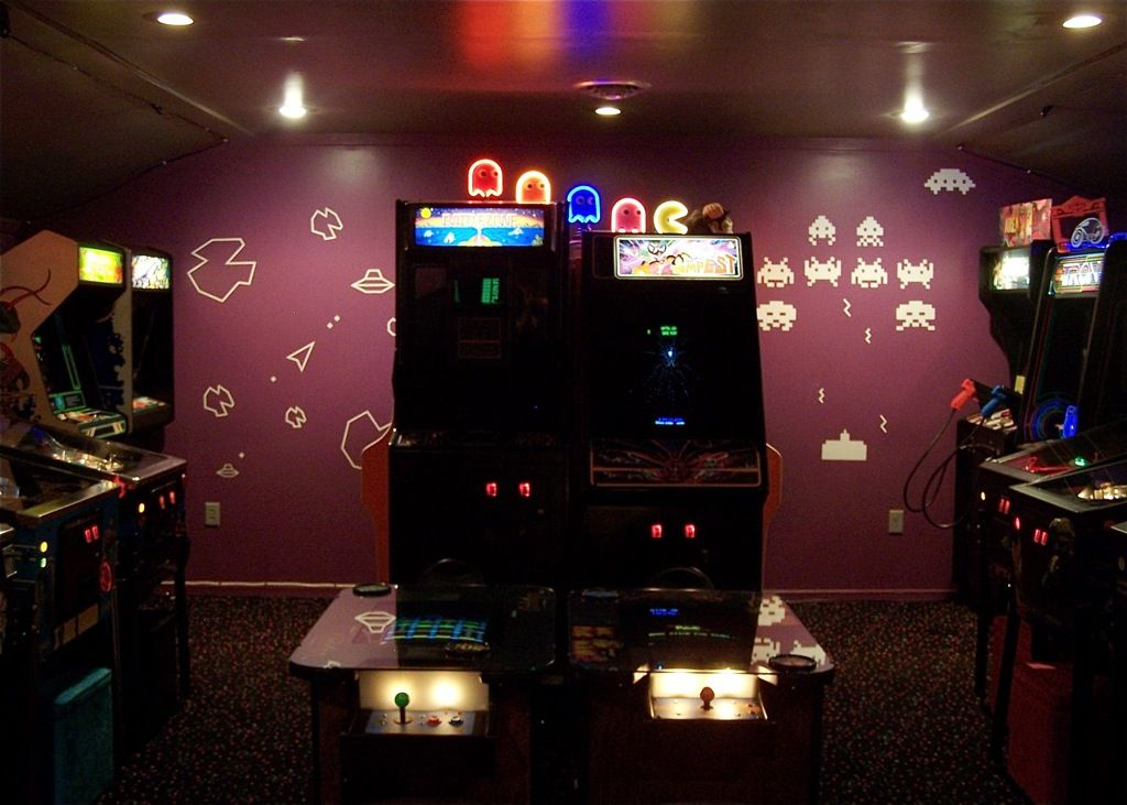 Asteroids Space Invaders Wall Decals And Arcade Games In Shawn Gioiosa 39 S Garage Turned Home