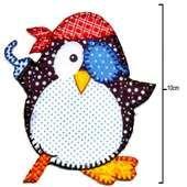 Aplicação Termocolante Brimon c/ 3unid Pinguim Pirata Ref.77117