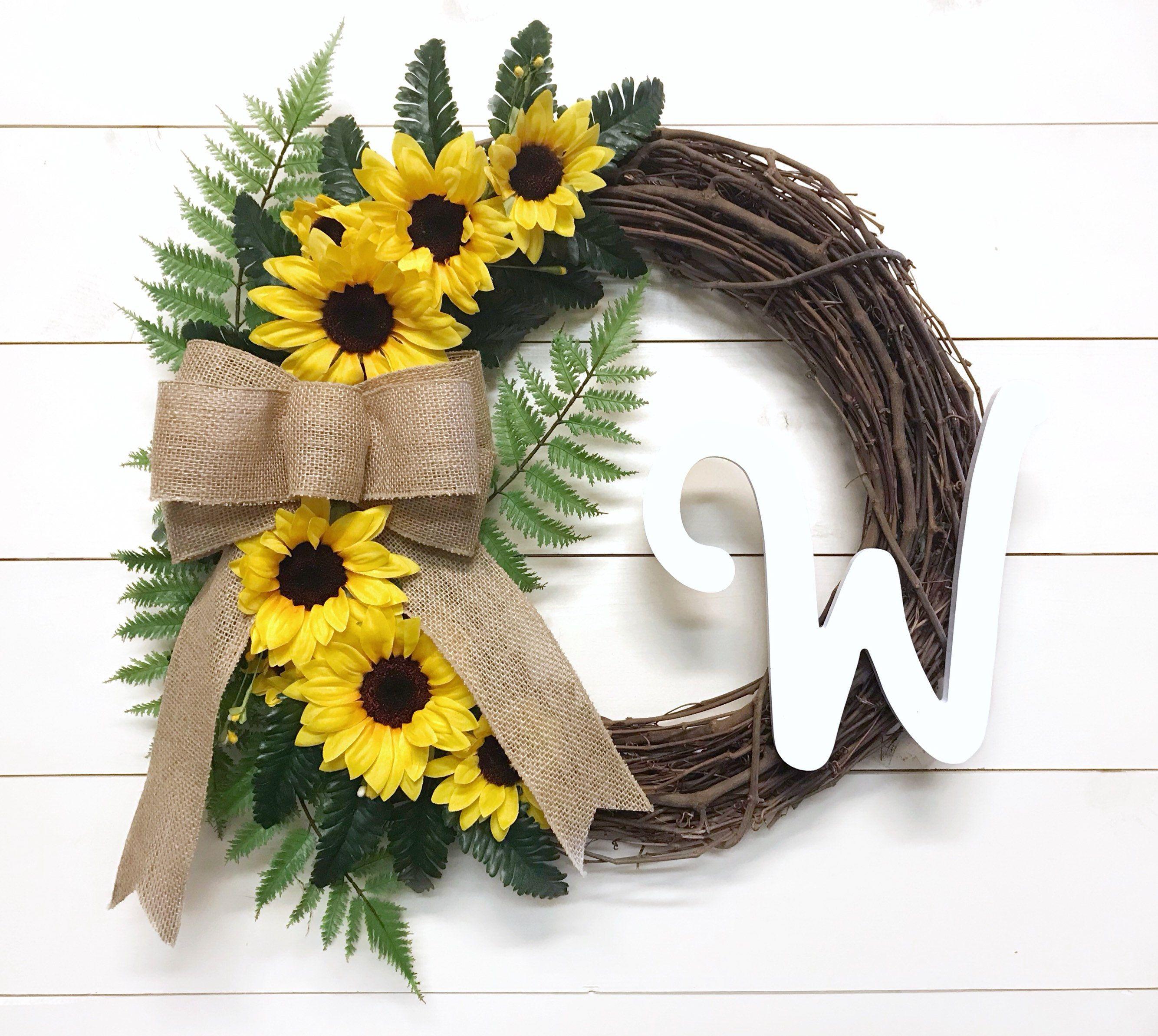 Sunflower Wreath With Initial Front Door Wreath With Letter Etsy Door Wreaths Diy Floral Door Wreaths Front Door Wreaths Diy