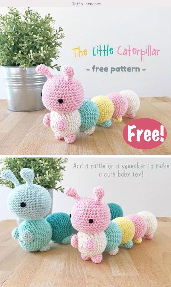 Die kleine Raupe Spielzeug häkeln kostenlose Muster #freepattern