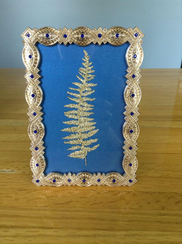4x6 Gold Frame, Picture Frame, Art Deco, Royal Blue, Fern, Pressed ...
