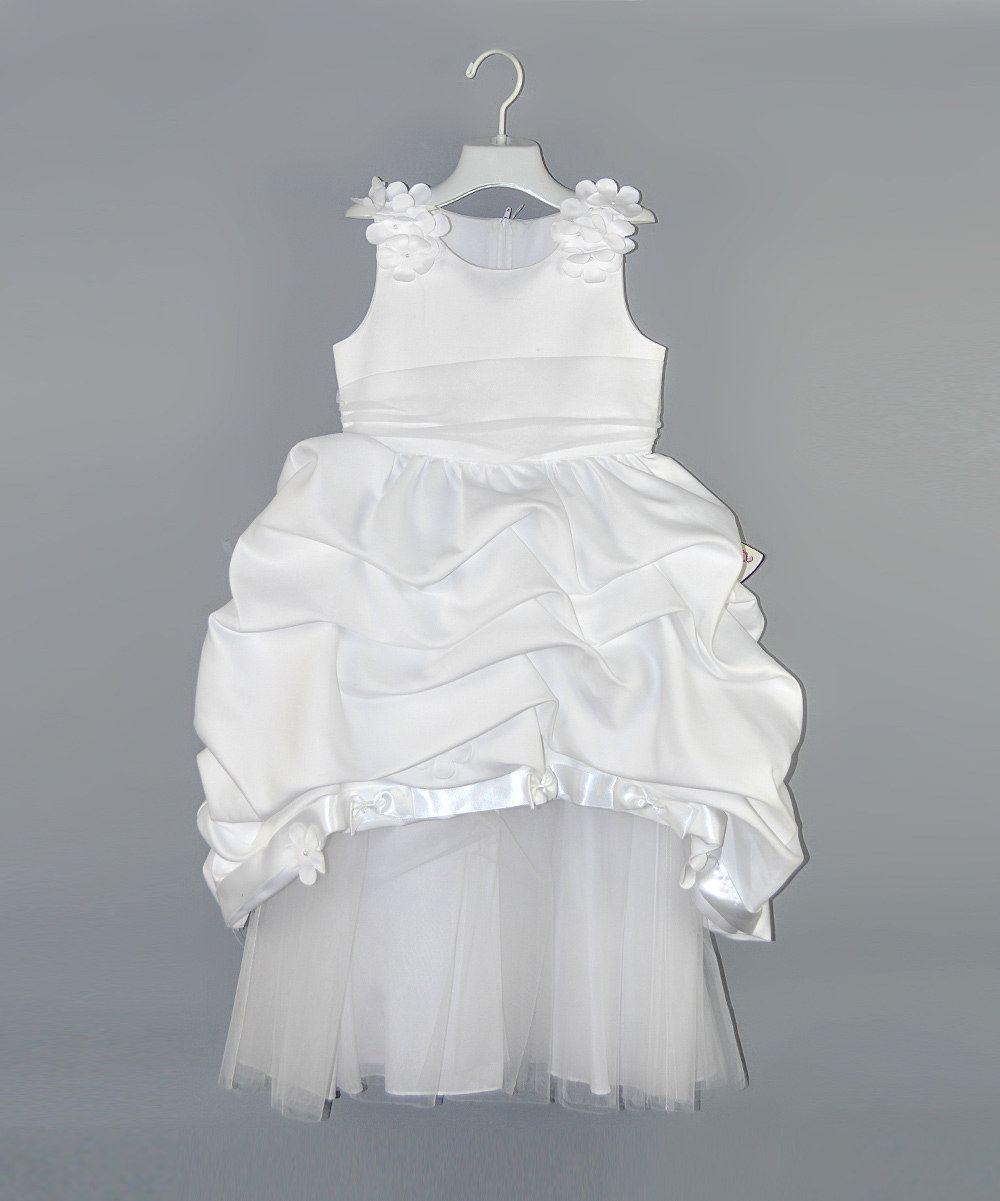 White flower gathered bubble dress girls by pretty me bridal